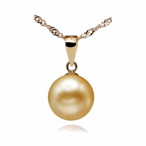 18KSouth Sea Pearl Pendant 10-11mm Golden AA+/AAA-Pure and Simpl