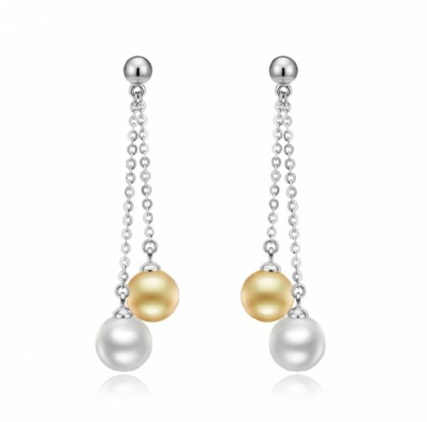 Freshwater Pearl Earrings 8.0-10.0mm White AAA Quality