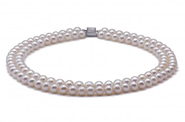 Freshwater Pearl Necklace 8.5-9.5mm White Double Strand