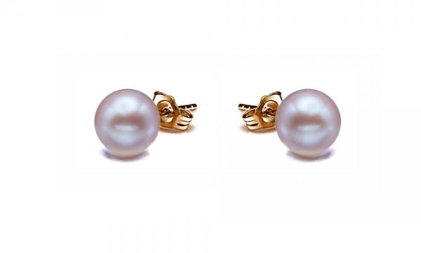 18K Gold Freshwater Pearl Earrings Stud 8.0-11.0mm Lavender AAA