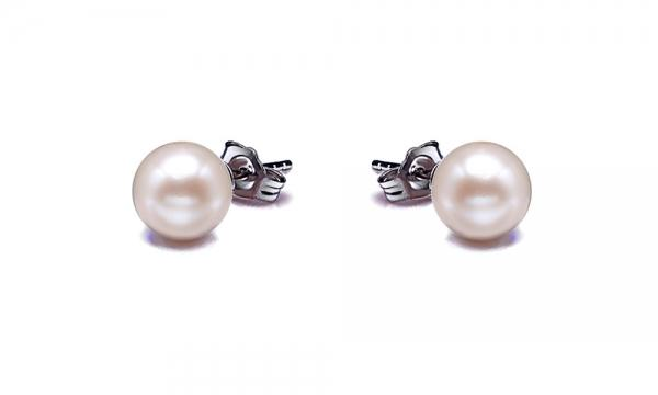 18K Gold Freshwater Pearl Earrings Stud 8.0-11.0mm White AAA