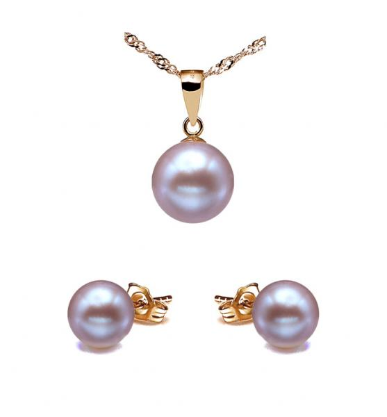 18K Gold Freshwater Pearl Set 8.0-10.0mm AAA