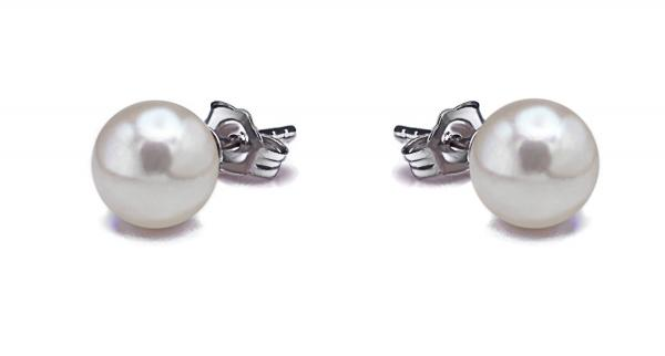 Akoya Pearl Earrings Stud 7.0-7.5mm White AAA Quality