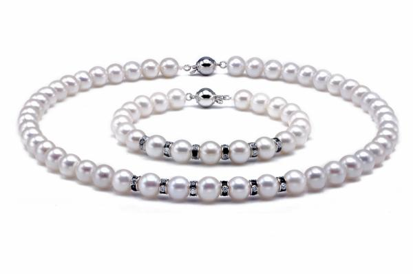 Freshwater Pearl Set 8.5-10.5mm White AAA Quality