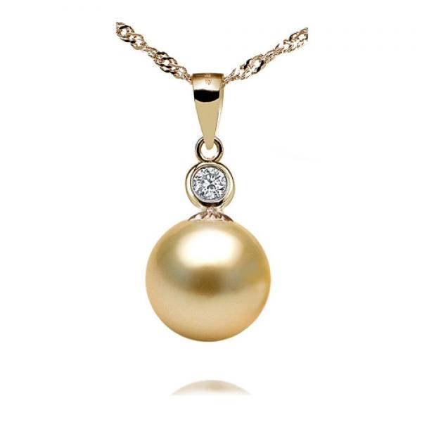 South Sea Pearl Pendant 9-11mm Golden AA+/AAA-Focus