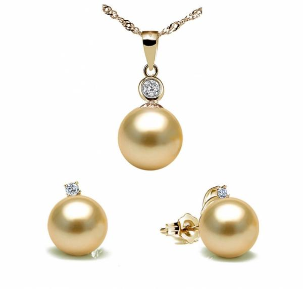 South Sea Pearl Set 10.0-11.0mm Golden AAA Quality-Focus