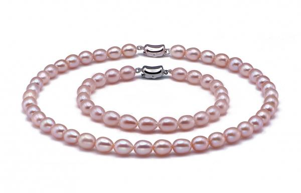 Freshwater Pearl Set 6.5-7.5 mm Rice Shape