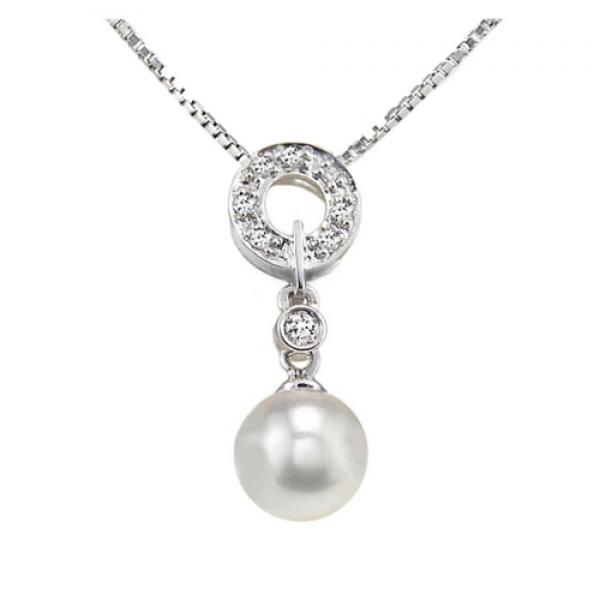 18K Akoya Pearl Pendant 8.0-9.0mm AAA Diamond
