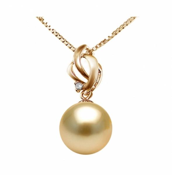 18k South Sea Pearl Pendant 9.0-11.0mm Golden AA+/AAA-Flame