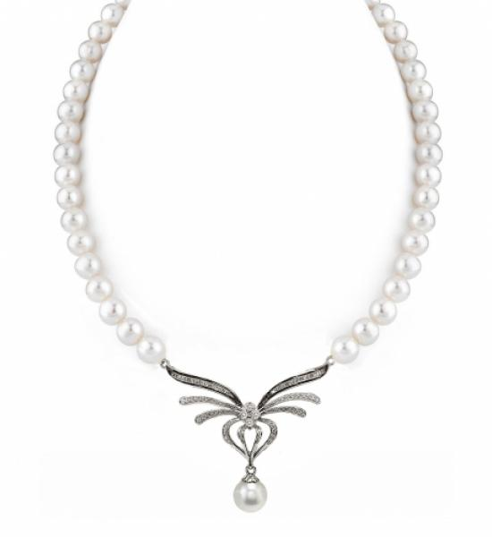 Freshwater Pearl Necklace 8.5-9.5mm White AAA with Enhancer