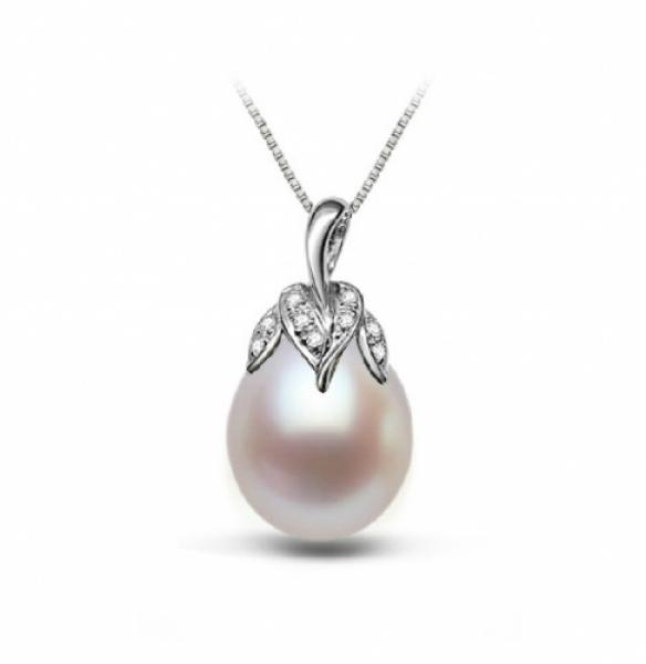 Freshwater Pearl Pendant 10.0-11.0mm White Drop AAA-Aubergine