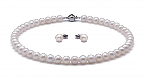 14K Gold Freshwater Pearl Set 8.5-10.0mm AAA Quality