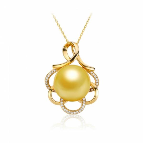 18K South Sea Pearl Pendant 11.0-13.0mm Golden-Flora
