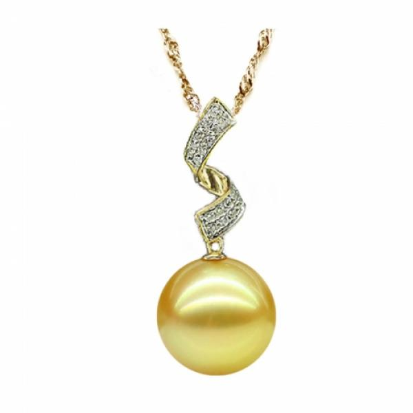 18K GEM South Sea Pearl Pendant 10-11mm Golden AA+/AAA-Desire
