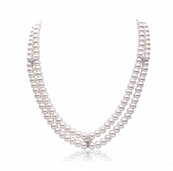 Freshwater Pearl Necklace 7.5-8.5mm White Double Strand with gem
