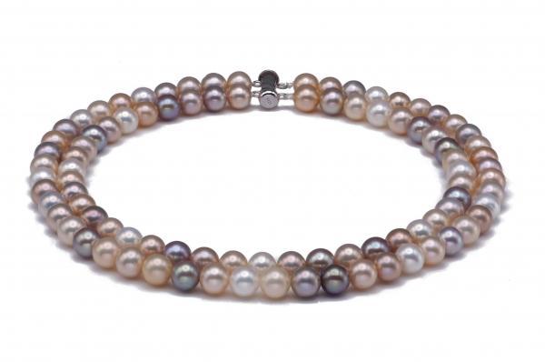 Freshwater Pearl Necklace 7.5-8.5mm Metallic AAA Double Strand