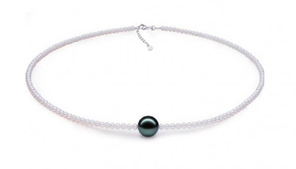 Freshwater Pearl Necklace 6.0-11.0mm White and Tahitian Pearl