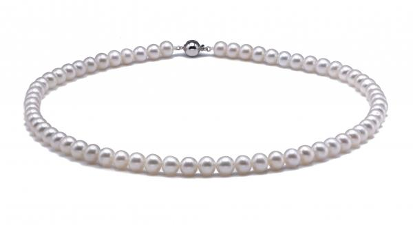 Freshwater Pearl Necklace 8.5-9.5mm White Rice Shaped AAA