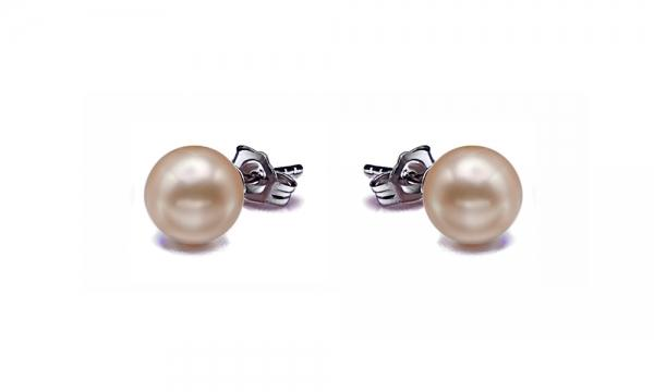 Freshwater Pearl Earrings Stud 8.0-11.0mm Peach AAA Quality